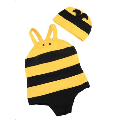 LOCOMO Baby Fashion Accessories - Bañador - para bebé niña Yellow and Black L: Altura: 95-105 cm/Age: 3-4 Años