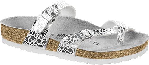 BIRKENSTOCK Mayari Metallic Stones Sandale mit ORIG. Kork-Latex Fußbett, Birko-Flor® Obermaterial Aus Einem Mix Aus Shiny und matten Materialien, Fleece-Lining, Silber (Silver), EU 35S,