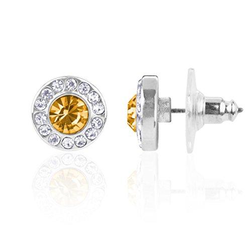 Lux accessori, quarzo citrino e topazio, pietra dei nati in novembre, con ciondolo a forma di orecchini a perno con pietra di