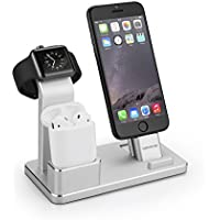 Aluminio 4 in1 Stand, iPhone Airpods iWatch soporte, Airpods soporte Apple iPhone soporte de muelles para iphone Airpods iWatch serie 2 & 1/iPhone 7/7 Plus/6S/6S Plus/5/5S/Se/ipad