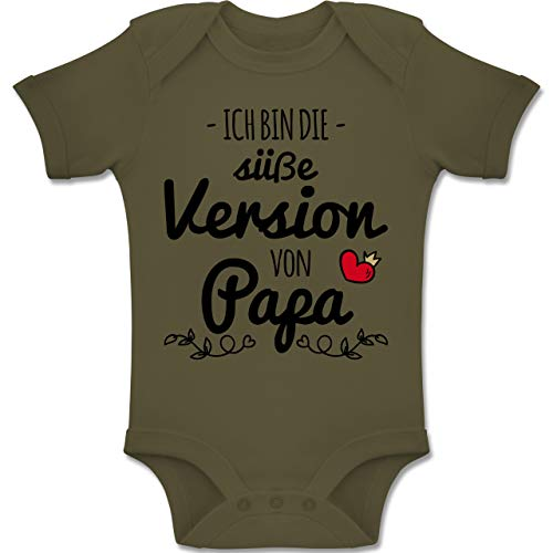 Shirtracer Sprüche Baby - Ich Bin die süße Version von Papa - 1-3 Monate - Olivgrün - BZ10 - Baby Body Kurzarm Jungen Mädchen