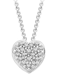 Carissima Gold Women's 9 ct White Gold Diamond Cluster Heart Pendant on Curb Chain Necklace of Length 46 cm