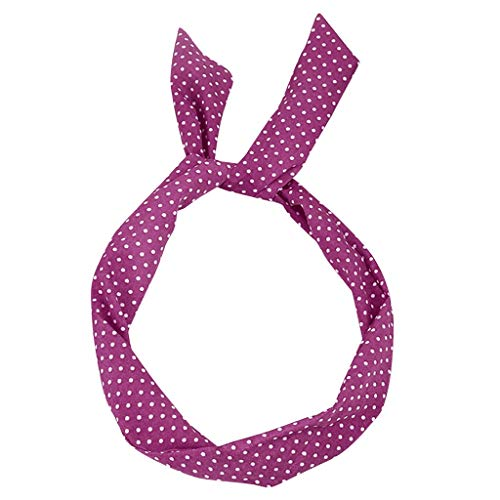 COZOCO 2019 Einfaches und nützliches Stirnband Paisley Rockabilly Wired Stirnband Polka Dot Tartan Retro Schal Draht Haarband Pink Freie Größe