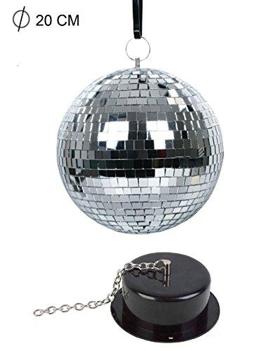 Sfera a specchio da discoteca con motore diametro 20 cm palla a specchi in vetro rotazione automatica effetto luci per disco e feste B14 - Rotazione Disco