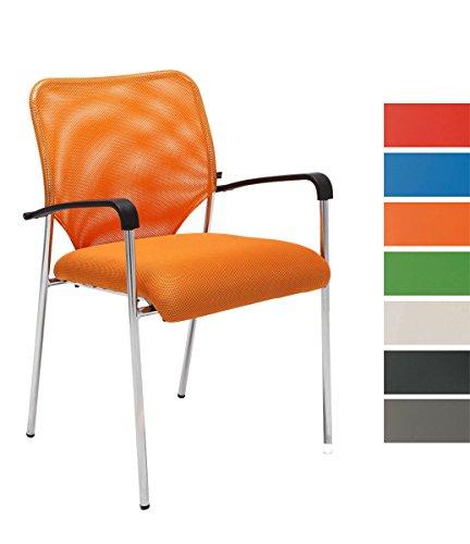 CLP Lehnstuhl Cuba mit Stoffbezug und hochwertigem Sitzpolster I Konferenzstuhl mit Armlehne und Metallgestell I erhältlich Orange