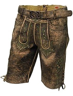 Kurze Herren Lederhose, mit Gürtel, echtes Ziegenleder, Trachten-Lederhose im used Look, alle Größen