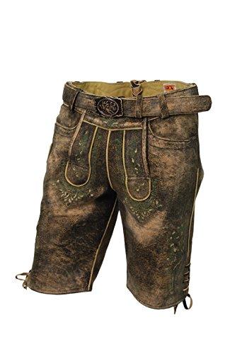 MADDOX Kurze Herren Lederhose, mit Gürtel, echtes Ziegenleder, Trachten-Lederhose im Used Look, alle...
