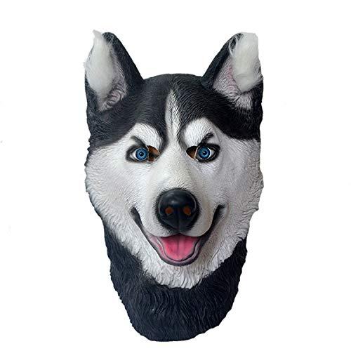 WYJSS Party Story Husky Hundekopf Maske Latex Tierkopf Maske Neuheit Schönes Kostüm Lustige Geschenke Halloween Dress Up Requisiten,Black-OneSize