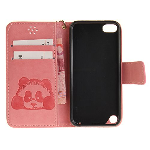 Qiaogle Telefon Case - PU Leder Wallet Schutzhülle Case für Apple iPhone 5 / 5G / 5S / 5SE (4.0 Zoll) - TX50 / Mandala TX58 / Pink Klassische Geschäfts art + Panda