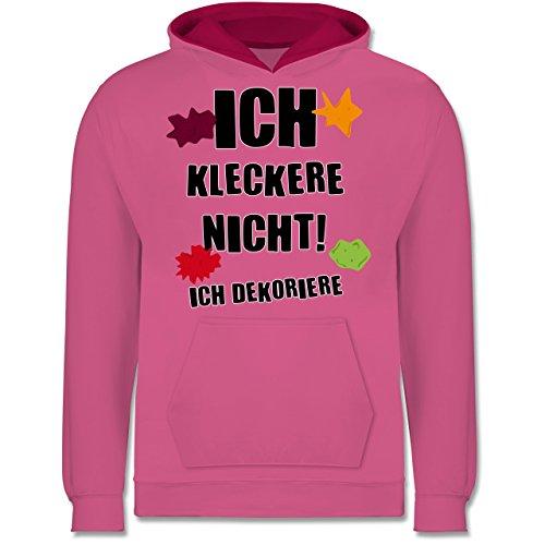 spruche-kind-ich-kleckere-nicht-5-6-jahre-116-rosa-fuchsia-jh003k-kinder-hoodie-kontrast