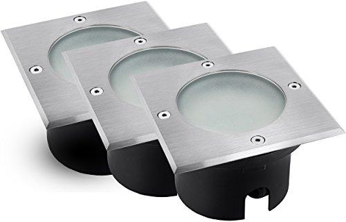 3 Stück flacher LED Boden Einbau-Strahler Set - VIROK quadratisch in Edelstahl gebürstet, mit Echt-Glas matt inkl. GX53 5,5W LED-Leuchtmittel warm-weiß 230V