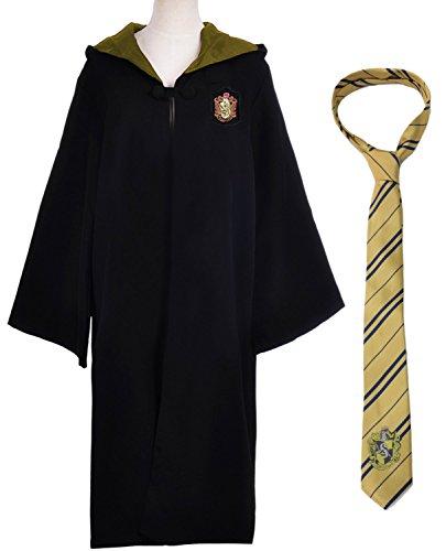(Karnevalskostüm Faschingskostüme Gryffindor Slytherin Ravenclaw Hufflepuff Kostüm Kapuzen Kap für Damen Herren Kinder Jungen Mädchen (Hufflepuff Kap Kostüm mit Krawatte, Etikett L für Erwachsene))
