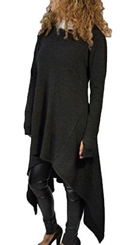 Femmes Loose Casual Pull Veste Sweatshirt Blouse Sweat à Capuche Manche Longue Asymmetric Pull-over Hoodie Jumper Shirt Tops Noir