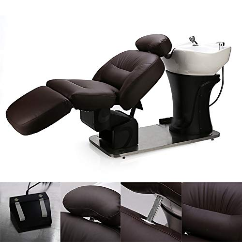 Lavatesta backwash barber chair con lavabo in ceramica regolabile angolo del poggiapiedi, angolo dello schienale, altezza del letto intero