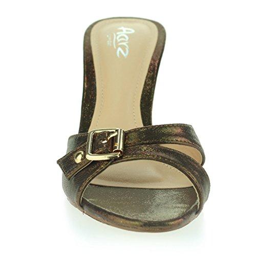 Femmes Dames Boucle Embellie Enfiler Mince Milieu Talon Soirée Fête Casual Sandales Chaussures Taille Marron