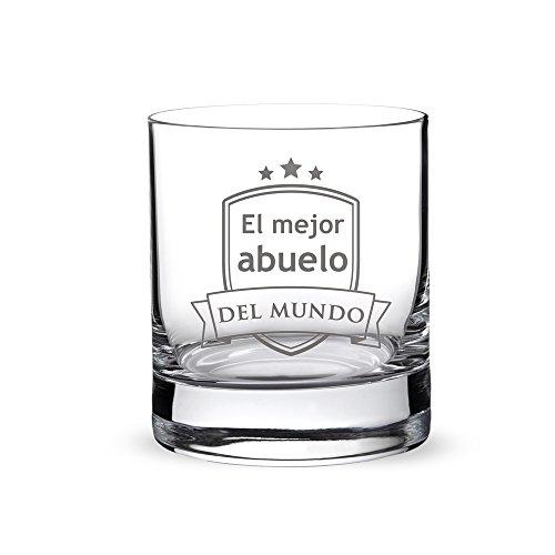 AMAVEL - Vaso de Whisky con Grabado - 'El Mejor Abuelo del Mundo' - con Escudo Estampado - Regalo para Abuelos - Presente para el Día del Padre - Detalles para él - Capacidad de 320 ml