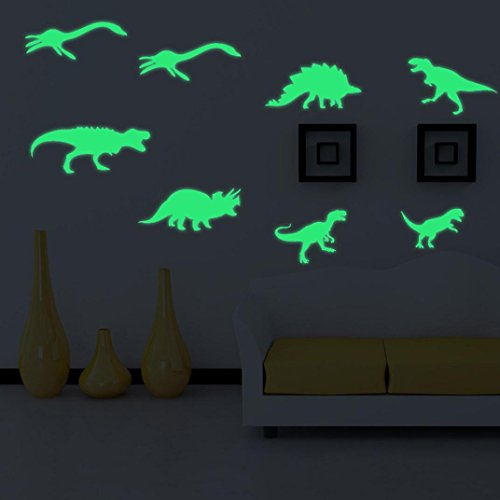 Indexp Luminous Fluorescent Dinosaur Wall Stickers, 9PCS Lovely Kids Room Decorative Decal Gift