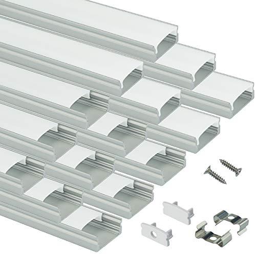 Muzata 15 Stück 1 m U-förmige LED-Aluminium-Kanalsystem mit Abdeckung, Endkappen und Befestigungsclips, Aluminiumprofil für Lichtleisten, Diffusor-Segmente, 9 x 17 mm