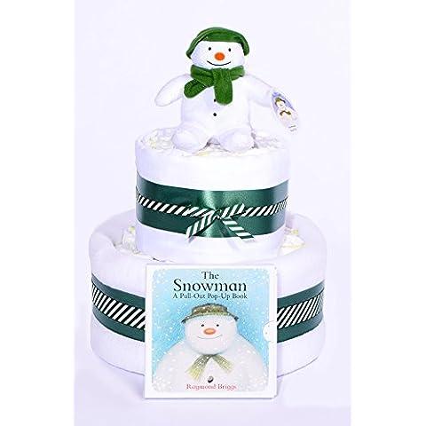 De la torta de Navidad - de la forma de muñeco de nieve Hombre de nuevo para pañales de y copos de nieve caja de regalo de la ducha de bebé venda de - con enganche rápido cesto temporizador automático de conexión y entrega!