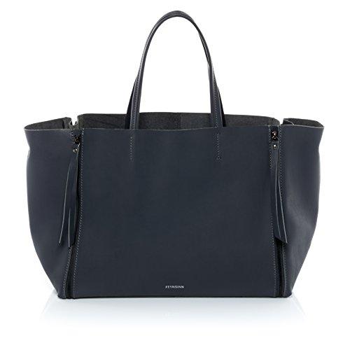 """FEYNSINN® Handtasche mit langen Henkeln JAX ZIP - Damen Schultertasche groß Ledertasche fit für 13 """" Zoll Laptop, iPad - Handtasche Damentasche echt Leder anthrazit"""