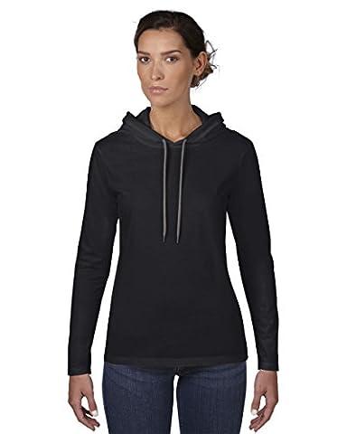 Anvil Mens Fashion Plain Long Sleeve Hooded T-Shirt (M) (Black/