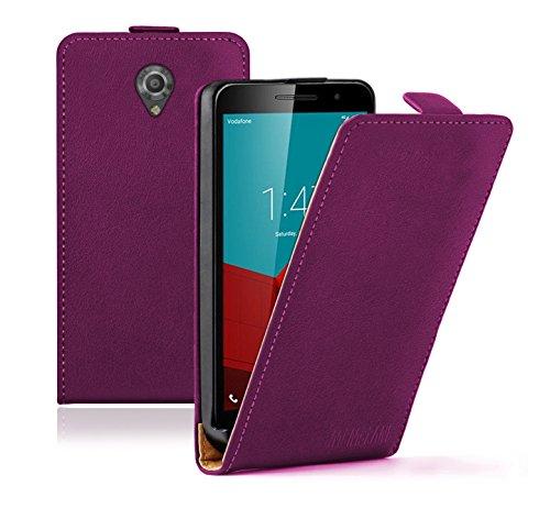 Membrane Vodafone Smart Prime 7 Lederhülle Lila Ultraslim Klapphülle Hülle Magnet Case Flip Cover Schutzhülle + 2 Displayschutzfolie
