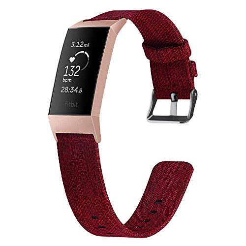 99native Für Fitbit Charge 3 Ersatzgewebe Canvas Stoff Uhrenarmband Handschlaufe,Bandlänge 217mm passend für Damen und Herren (Rot)