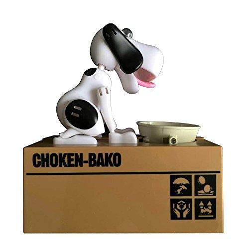 SODIAL Banco cachorro perrito Hucha sabueso hambriento Banco de ninos Caja de ahorro de dinero para comer monedas (Blanco negro)
