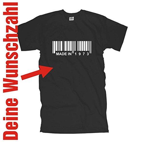 Fun T-Shirt mit Barcode - Made in 19XX - Deine Jahreszahl, Jahrgang Geburtstags T-Shirt Geburtstagsgeschenk mit Wunschzahl jede Zahl möglich (FSG031) Mehrfarbig