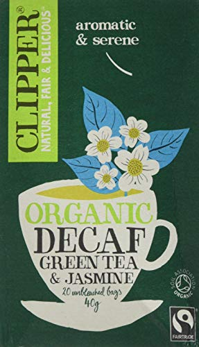 Clipper Organic Fairtrade Decaf Green with Jasmine 20 Tea Bags (Pack of 6, Total 120 Teabags)
