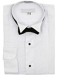 Sunrise Outlet Boy's Wingtip Collar Pleated Tuxedo White Shirt Black Bow Tie