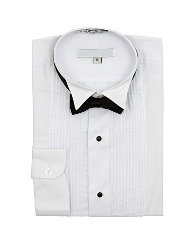 Boy's Wingtip Collar Pleated Tuxedo White Shirt Black Bow Tie - 7 (White Tie Bow Tuxedo)