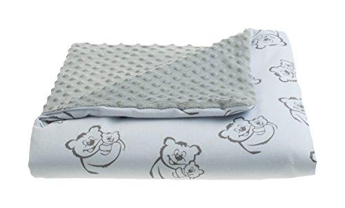 MoMika Nouvelle 2 faces Minky et couverture de bébé en coton | Play & Câlins Couverture | Girl & Boy Belle couverture Minky (80x80 cm) | Incroyablement doux et moelleux (Grey-Bear)