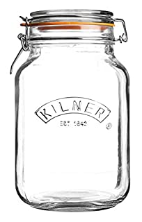 Kilner Square Glass Top Jar with Rubber Seal and Stainless Steel Clip, 1.5 Litre (B001DYUQZG) | Amazon price tracker / tracking, Amazon price history charts, Amazon price watches, Amazon price drop alerts