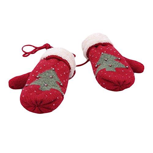 Gants épais Halter plein hiver Gants Finger gants de ski Gardez mitaines chaudes Rouge sombre