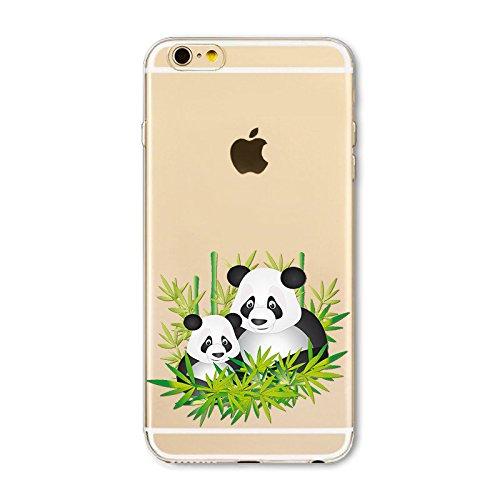Coque Apple Iphone 6 et 6S en Gel silicone souple transparente i love Panda IP6 panda mam et bebe