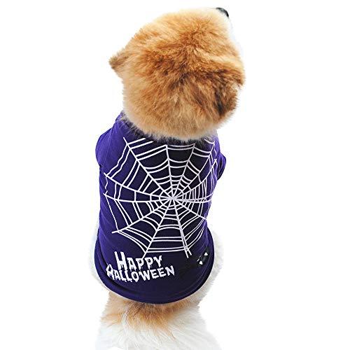 Balock Schuhe Haustier Halloween-Kostüm,Hund Katze Spinnennetz Gedruckt Lila Kurzarm Herbst Welpen Baumwolle Weste Sweatshirt T-Shirt,für Kleine mittlere Hunde Kätzchen (L)