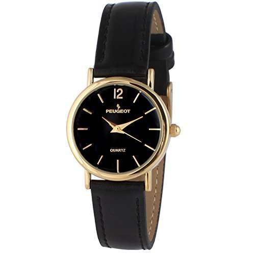 Peugeot Women's Classic 14K Plated Round Case Everyday Leather Band Dress Watch, Black