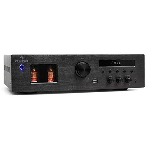 AUNA Tube 65 - Stereo HiFi Röhren-Verstärker, Musikanlage, Receiver, Sound System, 600 Watt max, MP3-fähiger USB, UKW Radio, 50 Speicherplätze, 2 x Line-In, gebürsteter Edelstahl, schwarz