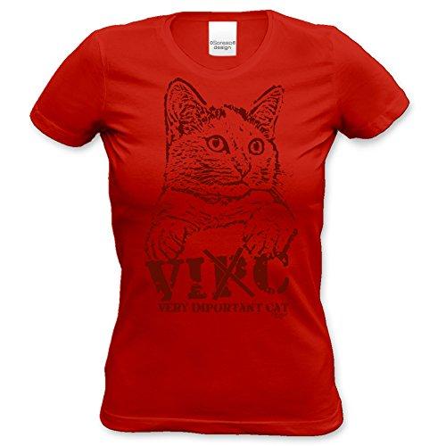 Katzen Girlie T-Shirt für Damen und Mädchen / Tier-Freunde als tolle Geschenk-Idee / Print-Katzenmotiv: VIC Farbe: rot Rot