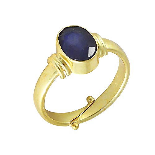 Radhey sales 5.25 Carat Natural Zircon Stone Silver Adjustable Ring Blue Crystal for Men and Women