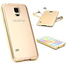 Funda Galaxy S5 , URCOVER Funda + Bumper Aluminio Smartphone Móvil Cubierta Anticaída Ultra- ligera Samsung Galaxy S5 Carcasa + Bumper Champaña Oro