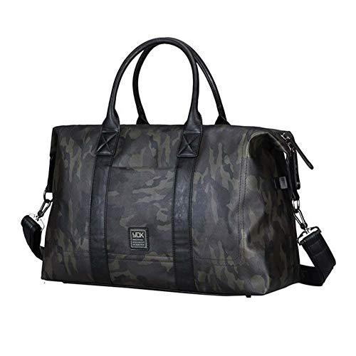 Stilvolle Faux Leder Reise Duffle Bag - Frauen & Männer Große Reise Tote Über Nacht Weekender Bag - Sport Gym Tasche Camouflage Grün 47X18x33cm 28 Liter - Rosa Camouflage-duffle Tasche