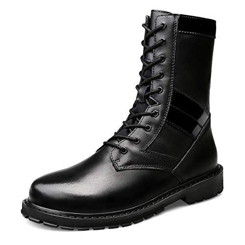 Botas Tácticas del Ejército Militar De Los Hombres Deportes Al Aire Libre Que Acampan Yendo De Excursión Trabajo Combate Lace Up High Top Zapatos De Cuero del Desierto Boots,Black01-42