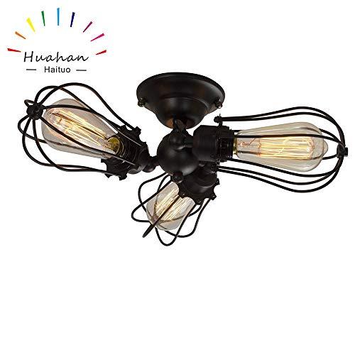 Huahan Haituo Industrial Edison Retro Vintage Wandleuchte Lampe mit 1/2/3/4/5 Lichtern Retro Wandleuchte rustikale Wandleuchte (3 Lichter)