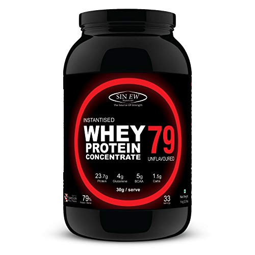 Sinew Nutrition Instantized Raw & Real Whey Protein [1kg] - Natural, 79% Protein, Additive Free, Unflavored, 23.7g Protein,5g BCAA, 4g Glutamine per serving [30gms]