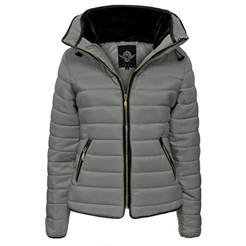 GLAM COUTURE NEW LADIES WOMENS QUILTED PADDED PUFFER BUBBLE FUR COLLAR WARM THICK JACKET COAT, Silver Grey, 10(M)