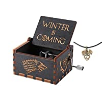 Cuzit Game of Thrones Movie Theme Music Box Wooden Engraved Hand Crank Musical Toy Winter is coming Tune Great Gift For GOT Fans Husband Friend Dad Father Man-Black