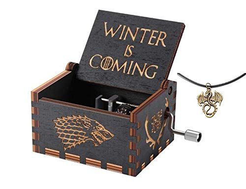 Cuzit Game of Thrones Movie Theme Music Box in legno inciso a mano manovella carillon Winter is coming Tune Great gift for got fans marito Friend Dad padre man-black