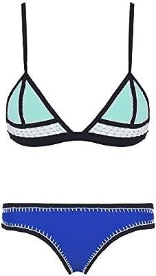 Ebuddy - Bikini de neopreno con ganchillo cosido a mano